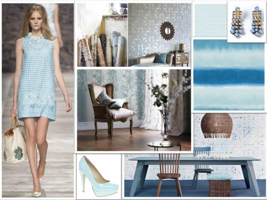 Papeles pintados en azul pastel - Villalba Interiorismo