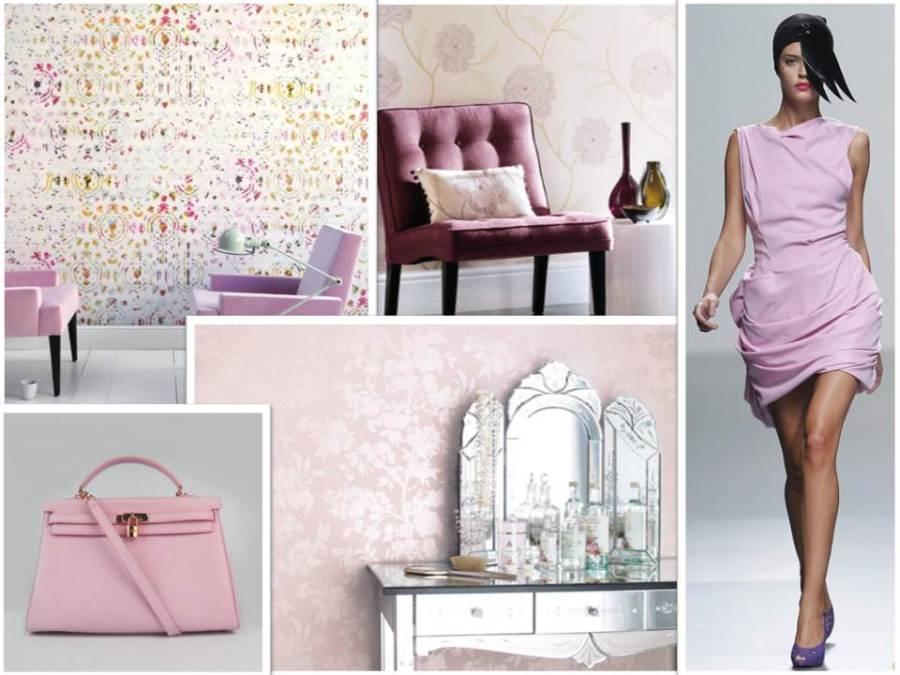 Papeles pintados en rosa - Villalba Interiorismo