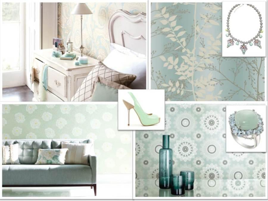 Papeles pintados en verde agua - Villalba Interiorismo
