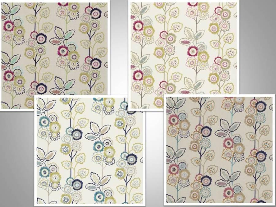 Telas flores bordadas Harlequin - Villalba Interiorismo