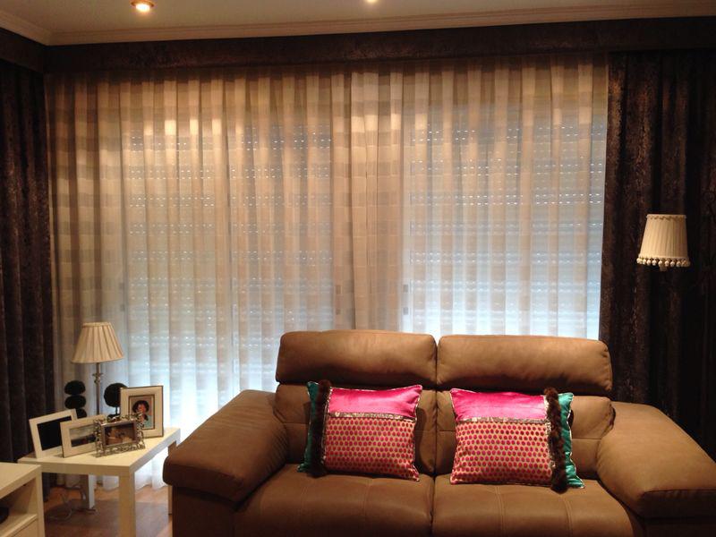 Dobles cortinas salón - Villalba Interiorismo
