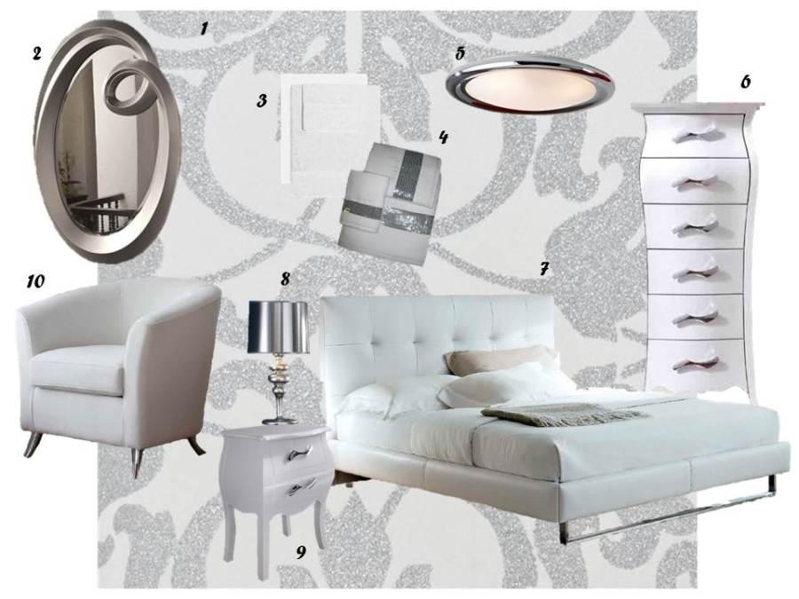 Dormitorio blanco y plata - Villalba Interiorismo