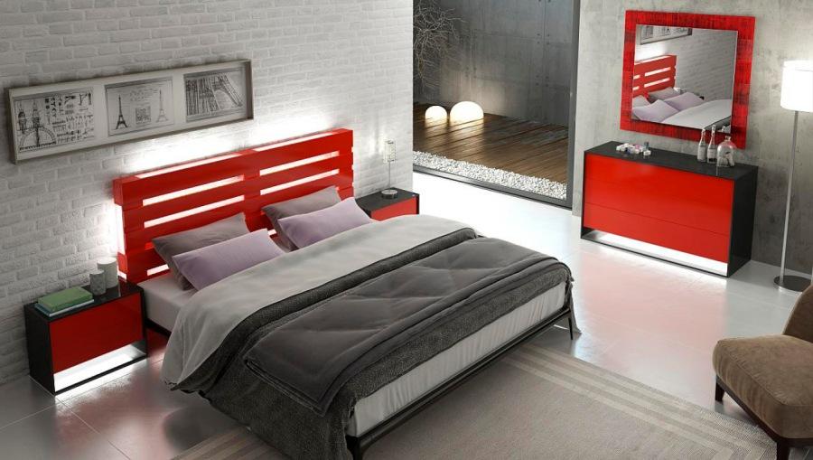 Dormitorio rojo - Villalba Interiorismo