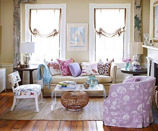 Cojines colores sofá - Villalba Interiorismo