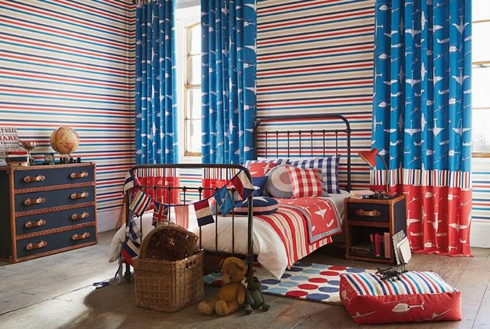 Paopel pintado rayas habitación chico - Villalba Interiorismo