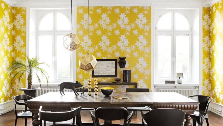 Papel pintado amarillo - Villalba Interiorismo