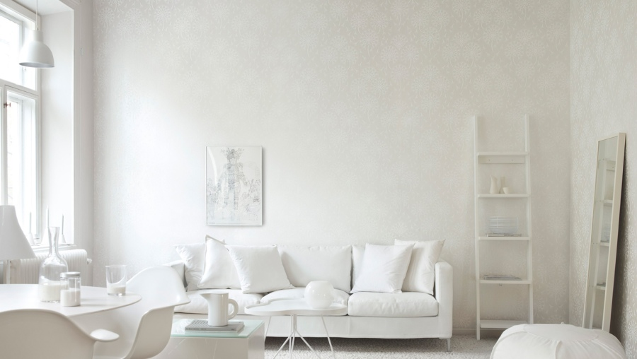Papel pintado en blanco - Villalba Interiorismo