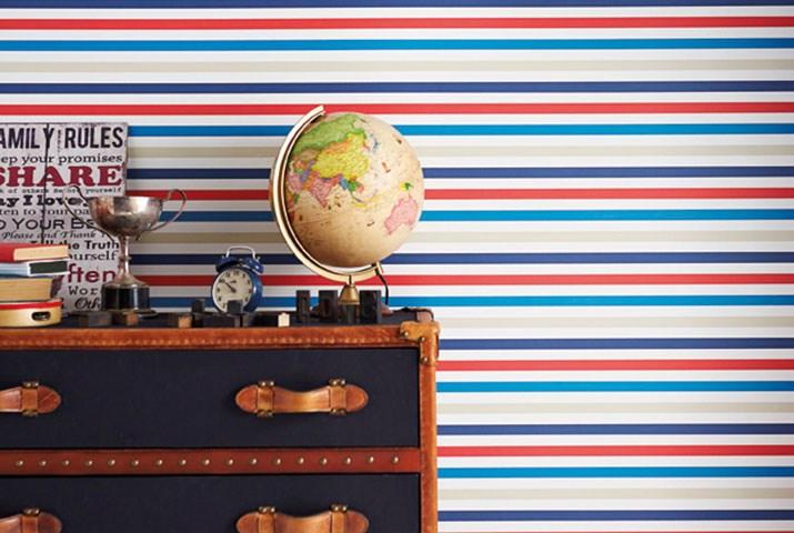 Papel pintado rayas habitación chico - Villalba Interiorismo