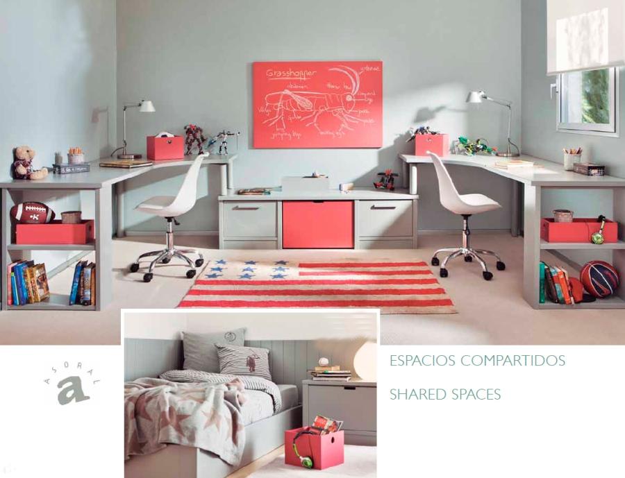 Zona de estudio habitación chicos - Villalba Interiorismo