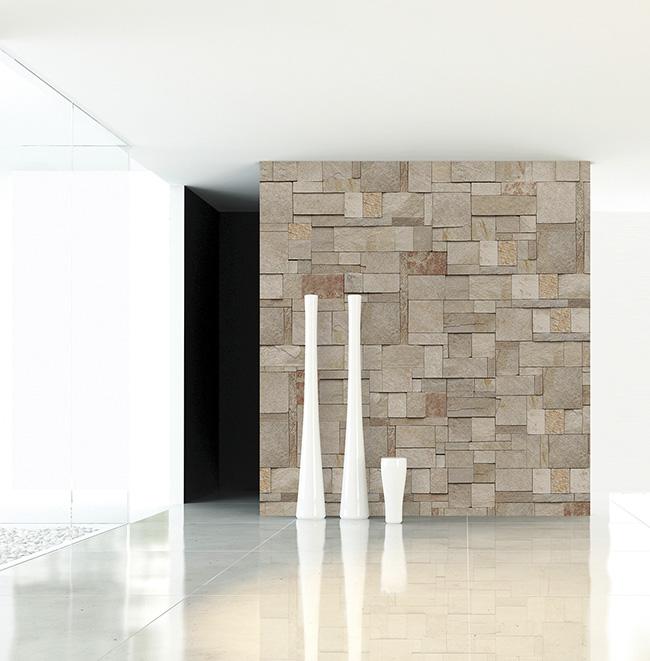 Papel pintado piedras naturales - Villalba Interiorismo