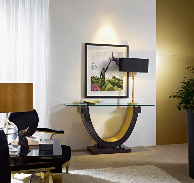 Consola negra con dorado - Villalba Interiorismo