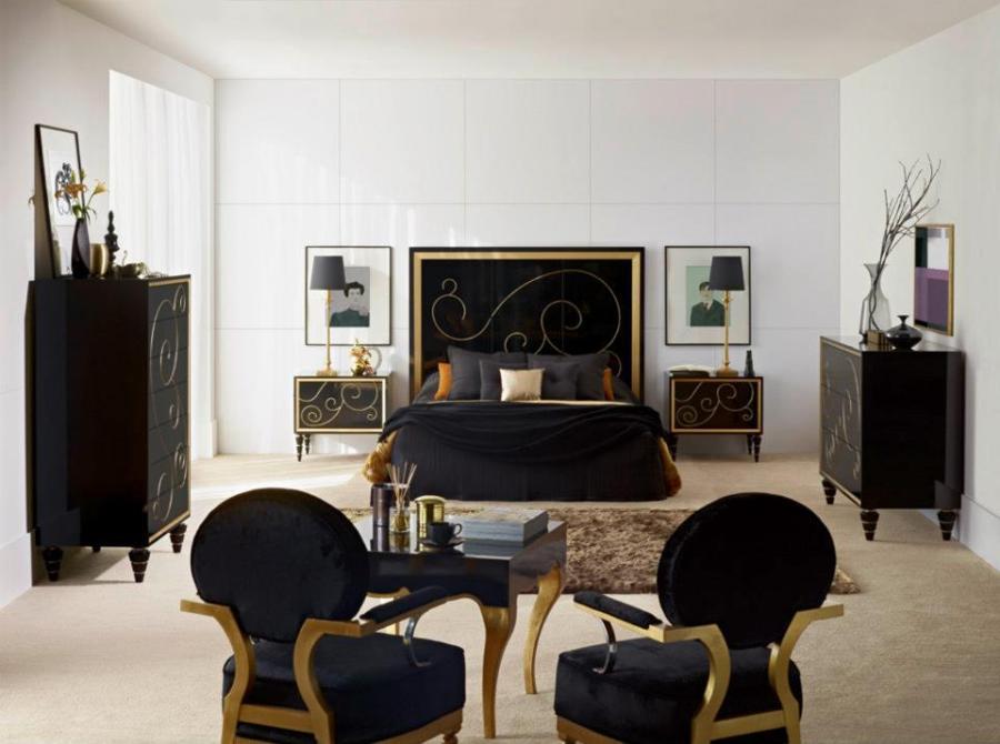 Dormitorio lacado en negro con dorado - Villalba Interiorismo