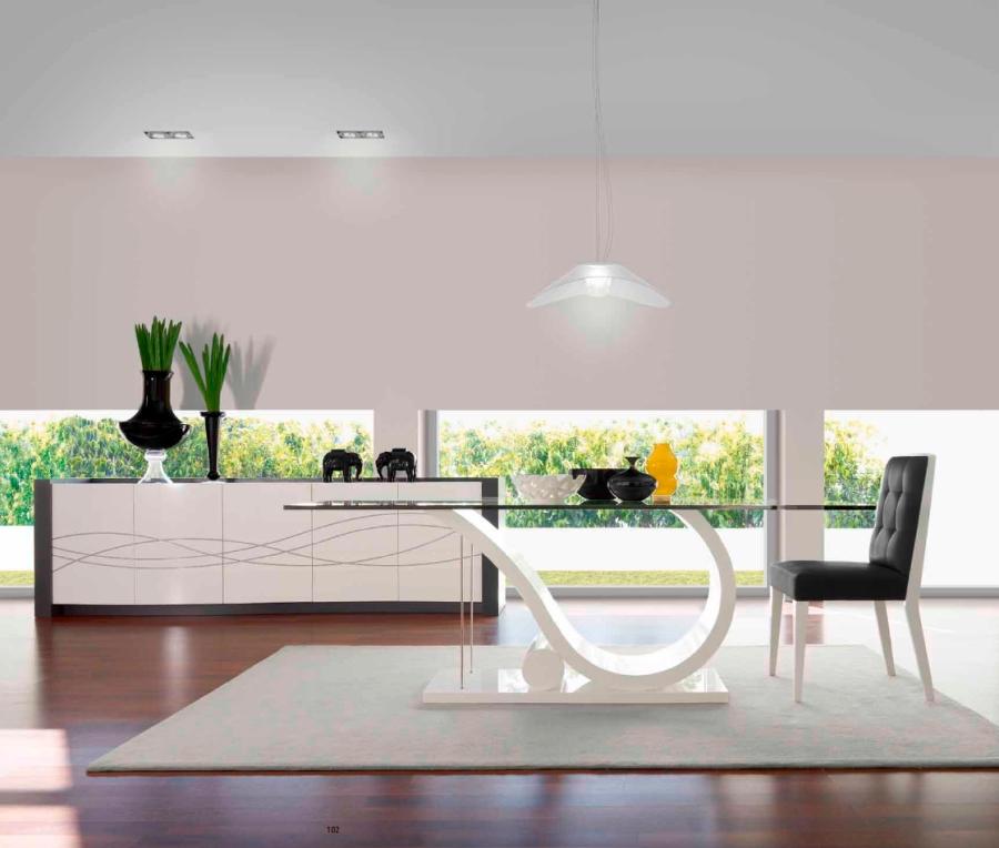Mesa comedor cristal moderana - Villalba Interiorismo