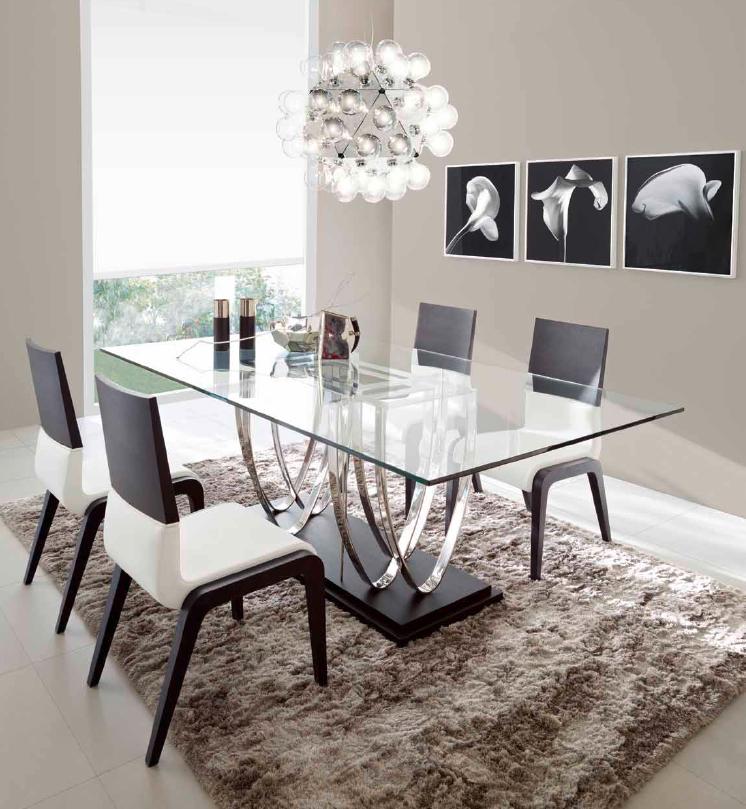Mesa de comedor vidrio for Mesas de comedor cristal y madera