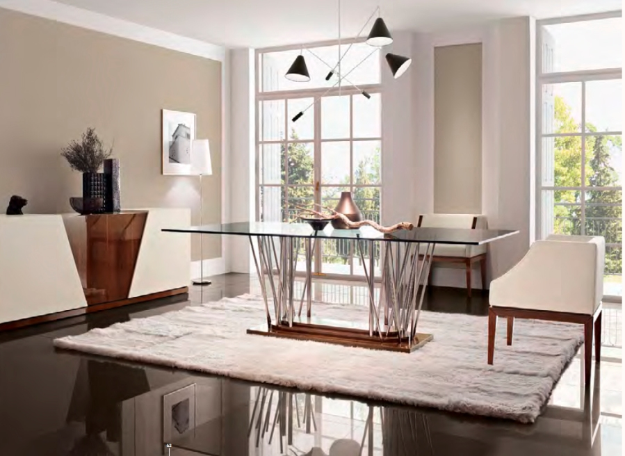 Mesa comedor de cristal moderna - Villalba Interiorismo