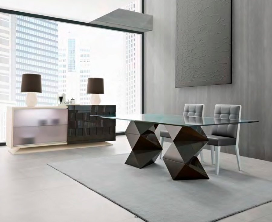 Mesa comedor de cristal moderna - Villalbha Interiorismo