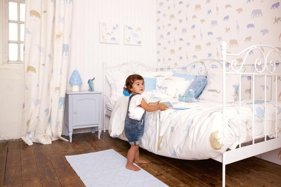 Papel pintado y telas coordinado habitación niños - Villaba Interiorismo