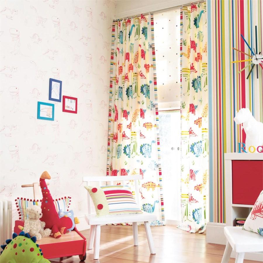 Papel pintado y telas coordinado habitación niños - Villalba Interiorismo
