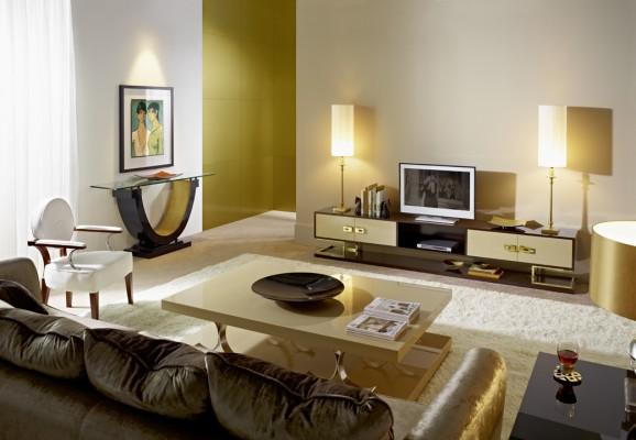 Salón lacado en negro con dorado - Villalba Interiorismo