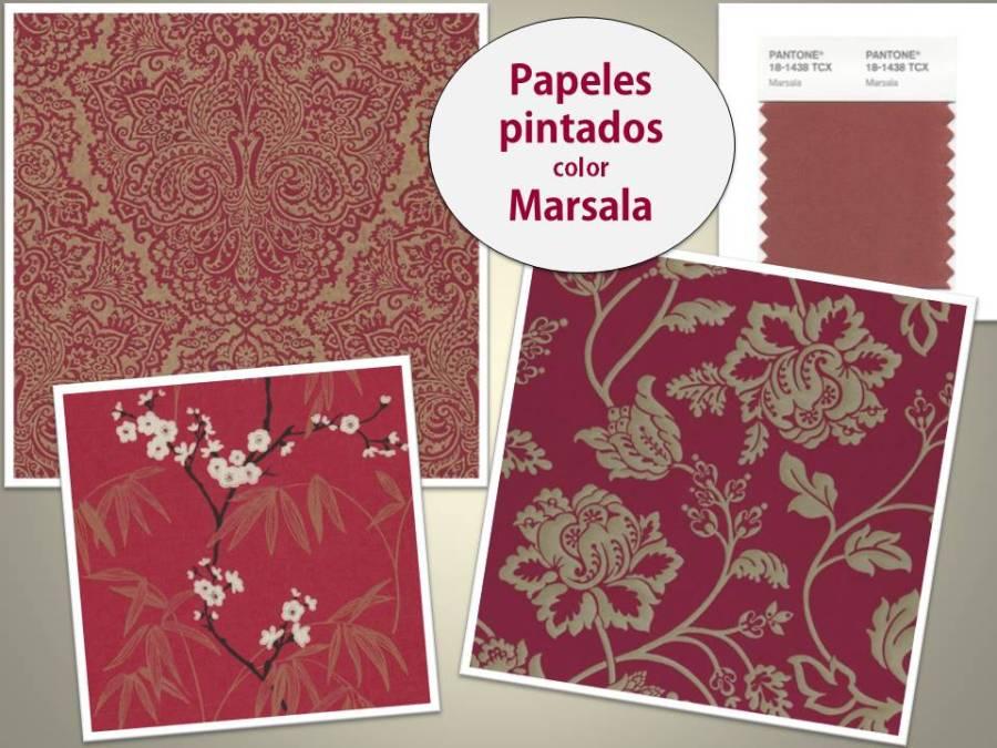Papeles pintados color Marsala - Villalba Interiorismo
