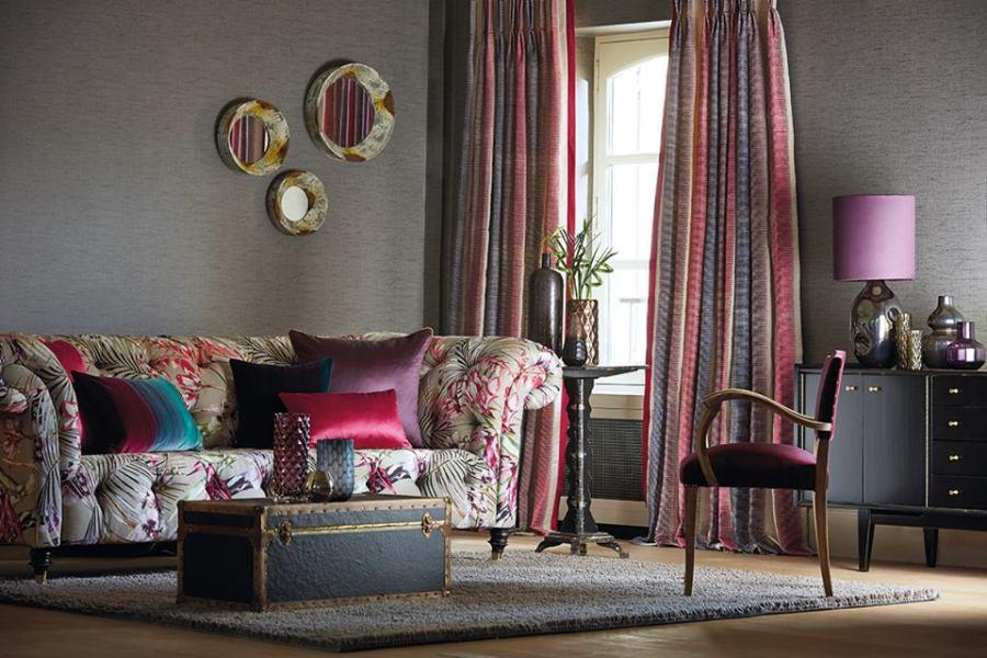 Salón con dobles cortinas - Villslbs Interiorismo
