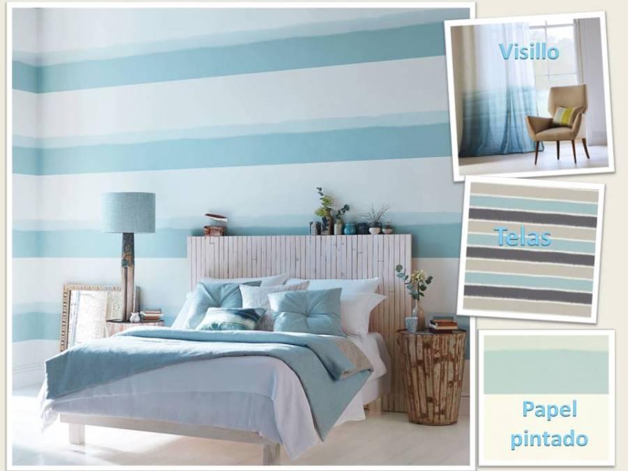 Dormitorio rayas horizontales - Villalba Interiorismo