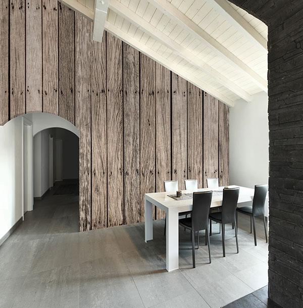 Murales digitales de lamas de madera villalba interiorismo for Paredes imitacion madera