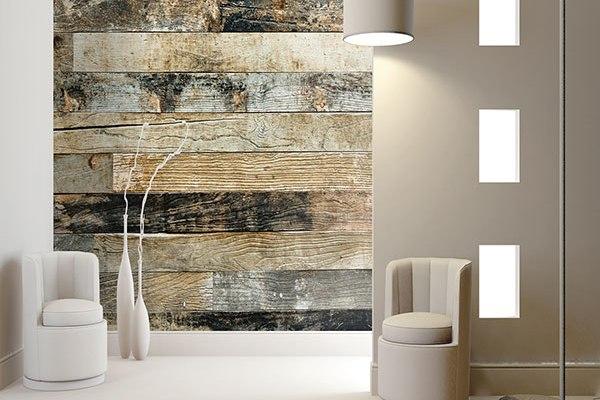 Murales digitales de lamas de madera villalba interiorismo for Murales en paredes interiores