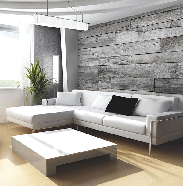 Murales digitales de lamas de madera villalba interiorismo for Papel para paredes salon