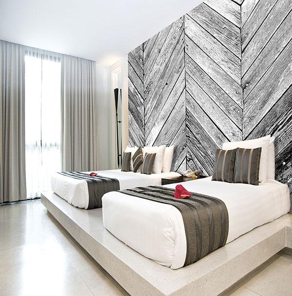 Mural imitando madera - Villalba Interiorismo