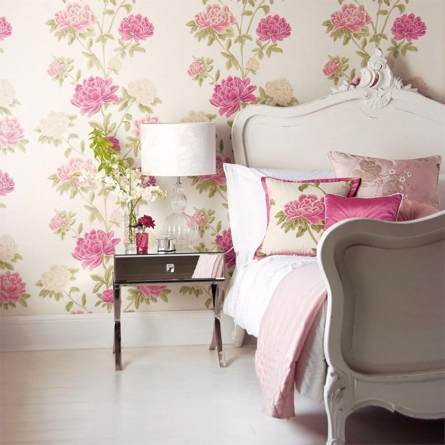 Papel pintado de flores dormitorio - Villalba Interiorismo (2)