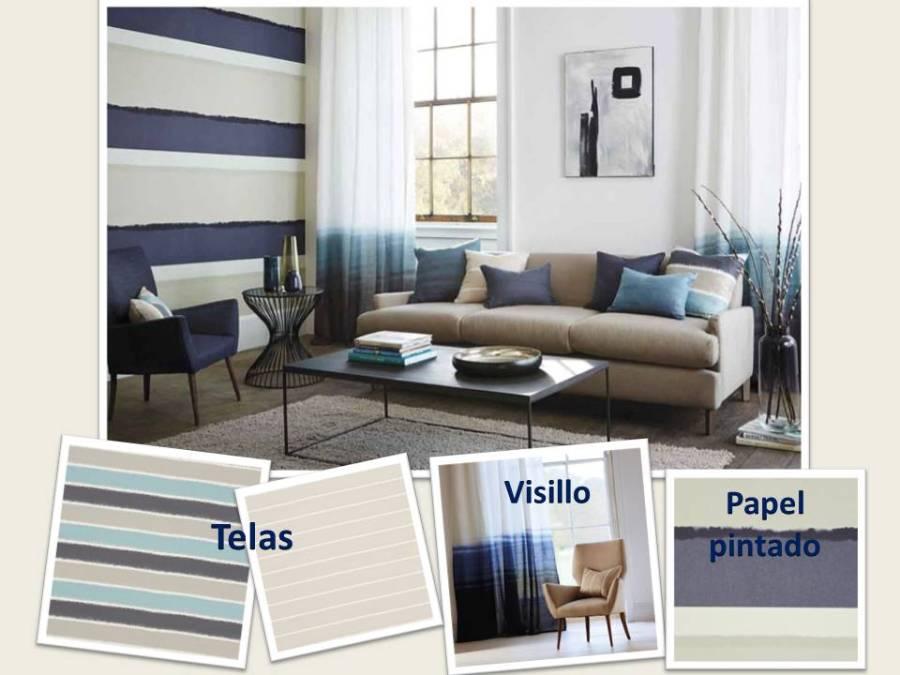 Salón rayas horizontales 1- Villalba Interiorismo