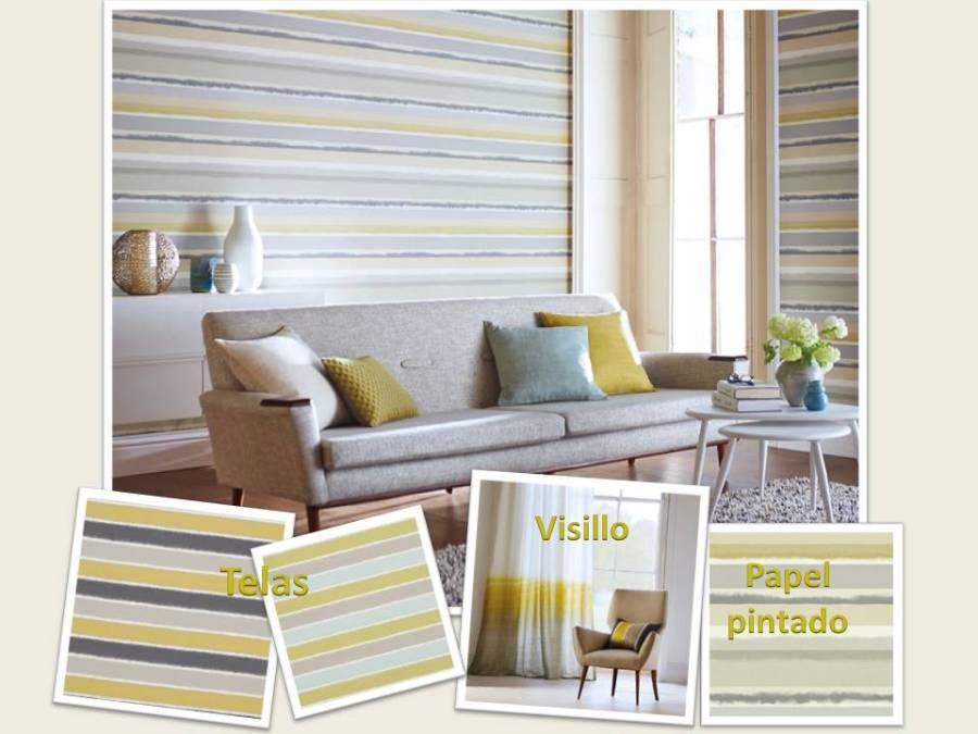 Salón rayas horizontales - Villalba Interiorismo