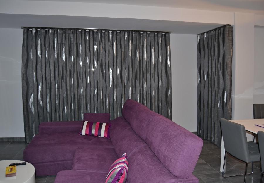 Cortina salón en gris y plata - Villalba Interiorismo (2)