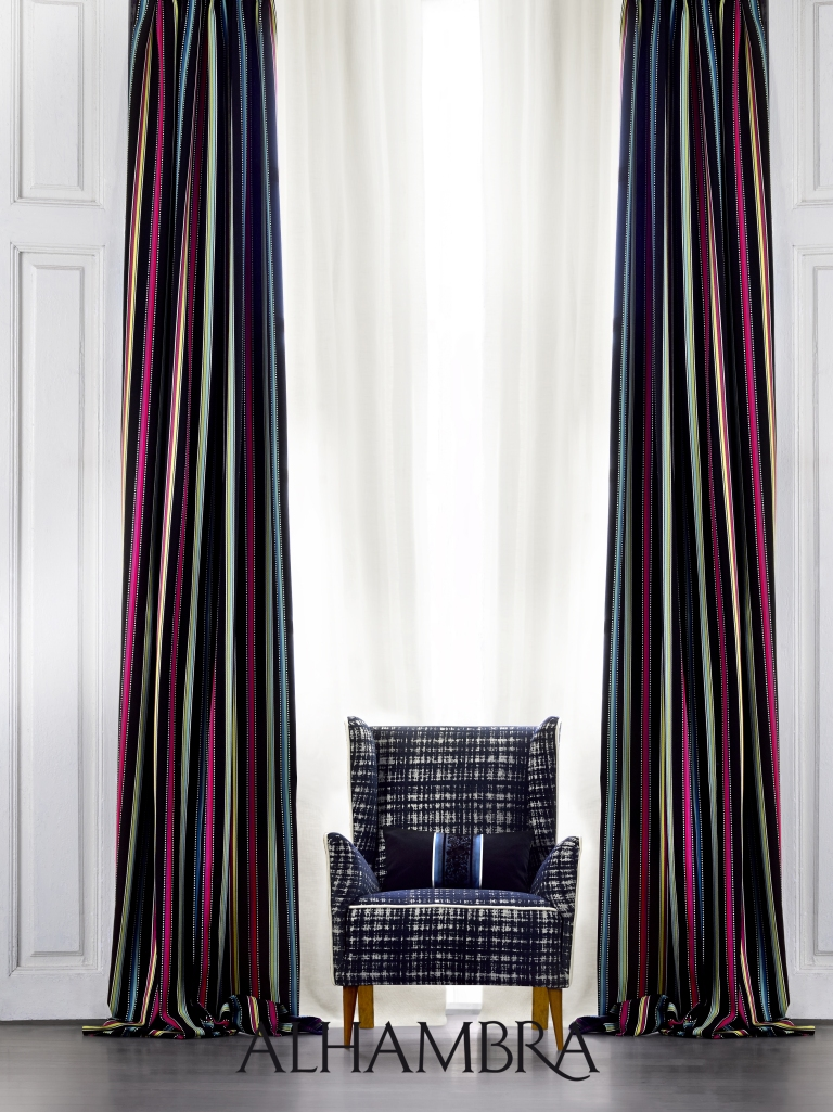 Dobles cortinas rayas - Villalba Interiorismo