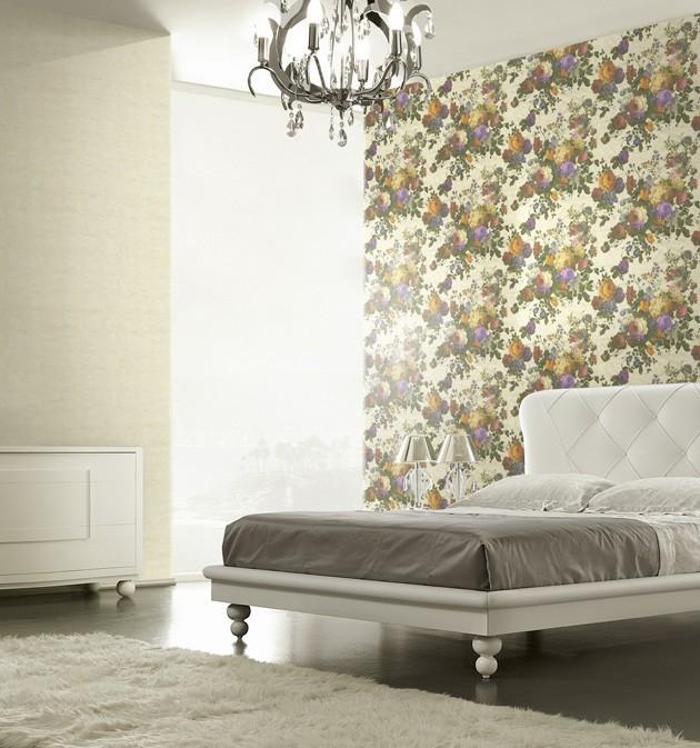Dormitorio con papel pintado Blumarine - Villalba Interiorismo