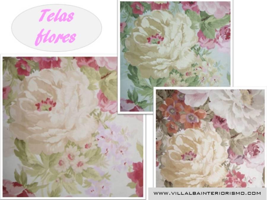 Telas flores - Villalba Interiorismo