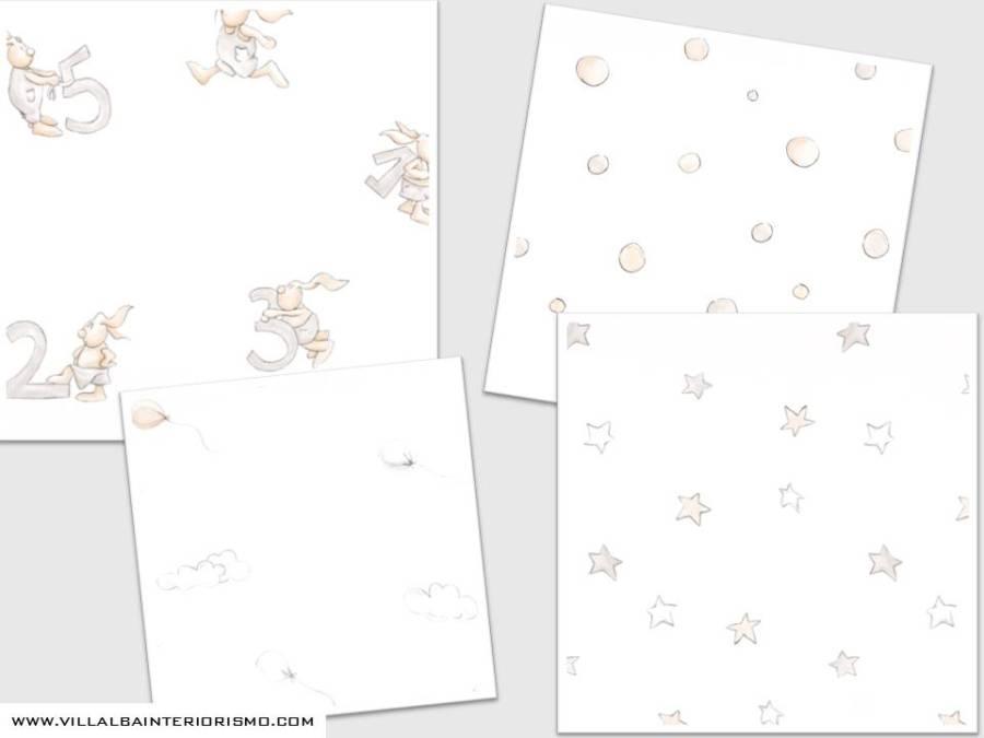 Papeles pintados en gris de Coordonné - Villalba Interiorismo