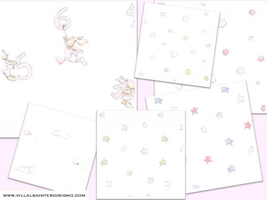 Papeles pintados en rosa de Coordonné - Villalba Interiorismo