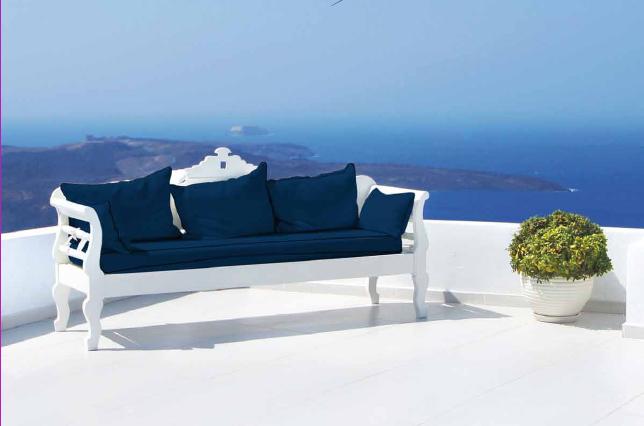 Sofá tapizado con tejido outdoor - Villalba Interiorismo