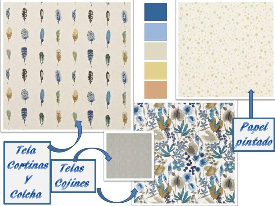Telas de Harlequin en colores azules y ocres - Villalba Interiorismo