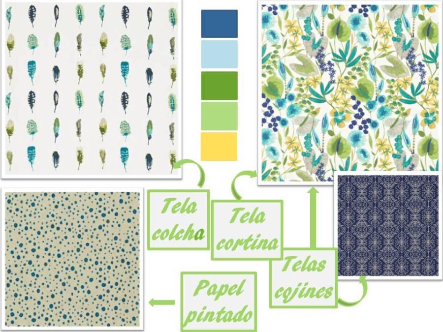 Telas de Harlequin en colores azules y verdes - Villalba Interiorismo