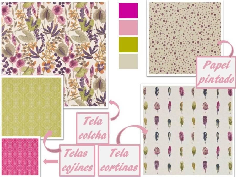 Telas de Harlequin en colores rosas y verdes -Villalba Interiorismo