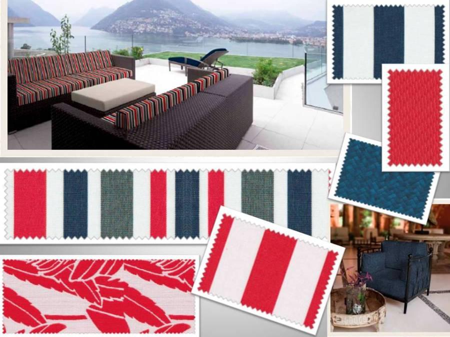 Telas outdoor rojo y azul - Villalba Interiorismo