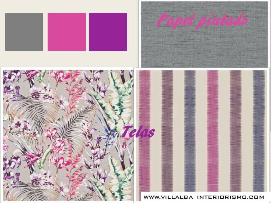 Telas y papel pintado gris y fucsia - Villalba Interiorismo