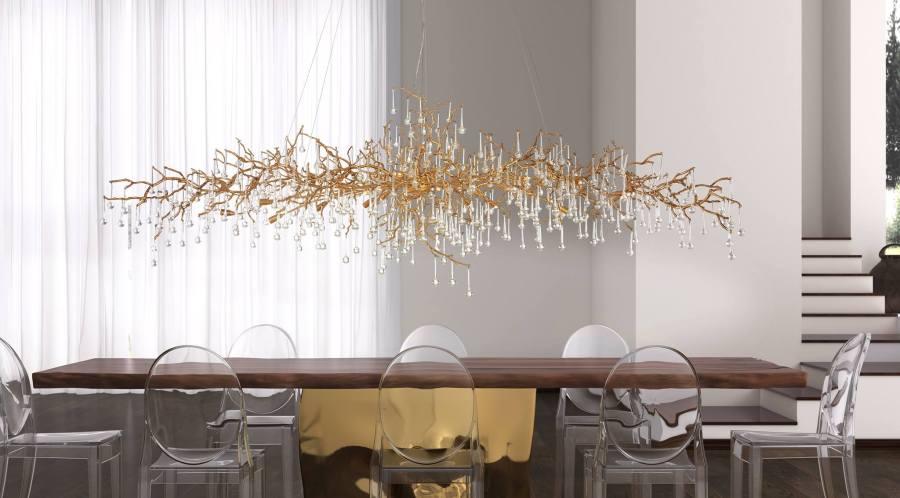 Lámpara en bronce y cristales de Serip - Villalba Interiorismo