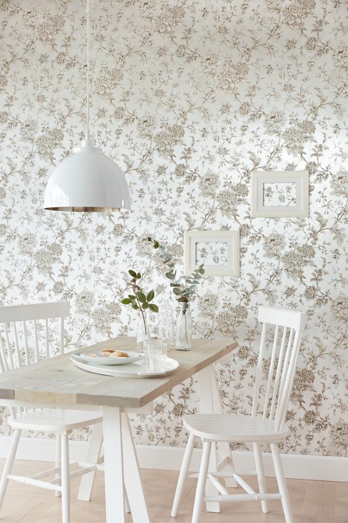 Papel pintado flores en plata - Villalba Interiorismo