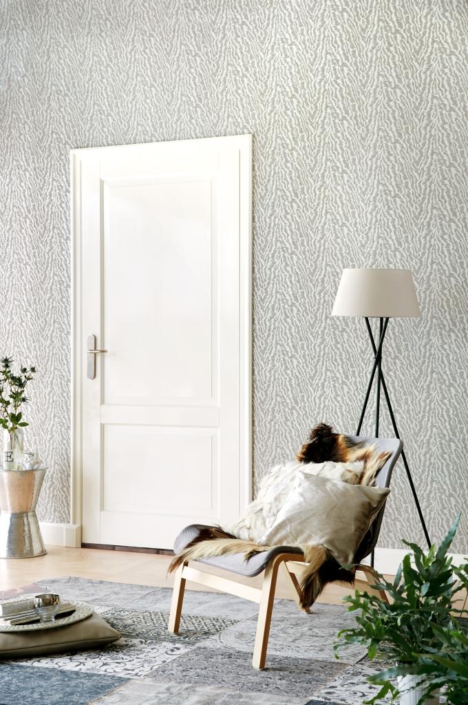 Papel pintado zebra en plata - Villalba Interiorismo