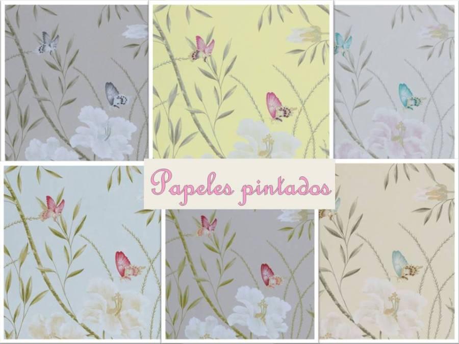 Papeles pintados flores y mariposas - Villalba Interiorismo