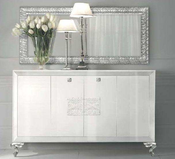 Aparador lacado blanco y plata - Villalba Interiorismo